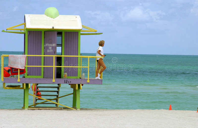 south beach gaurd royalty free stock photos