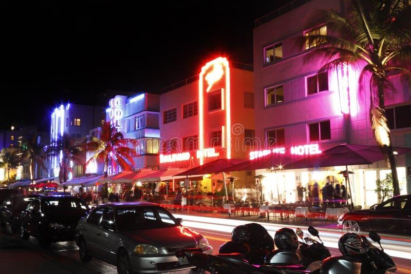 South Beach hotels at night stock photos