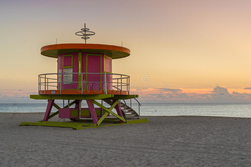 South Beach Lifeguard stand in the sunrise. royalty free stock images