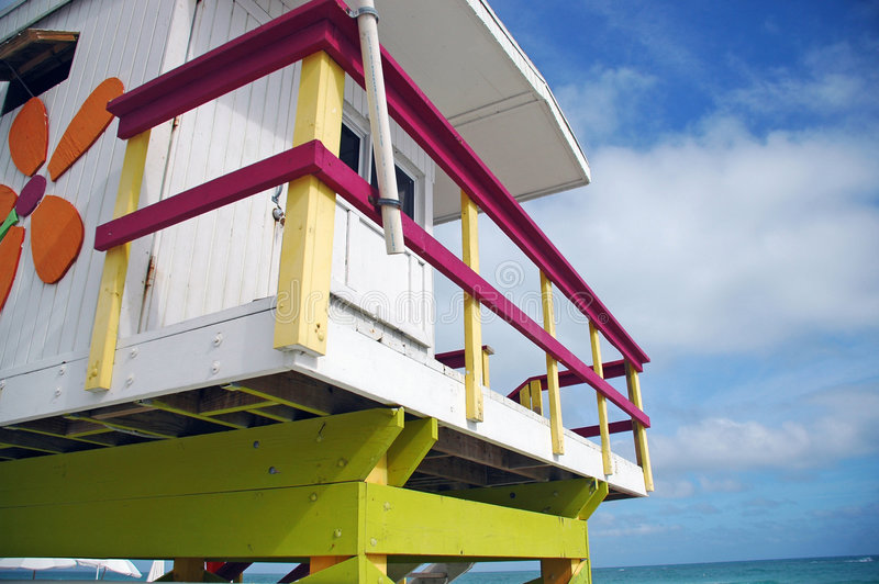 South Beach Lifeguard Tower and Ocean. Closeup view of South Beach Lifeguard Tower with Sunflower Decoration and Ocean stock image