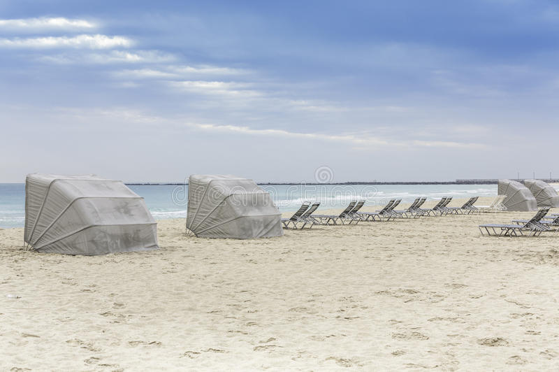 South Beach lounge chairs, Miami stock images