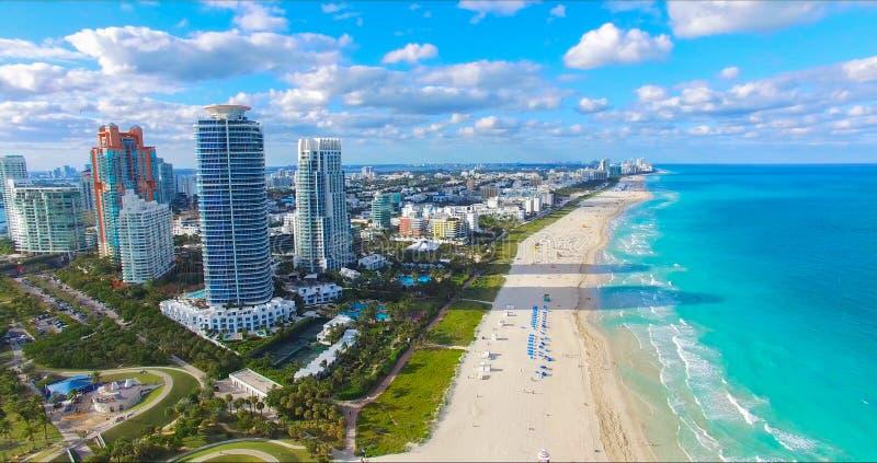South Beach, Miami Beach. Florida. Aerial view. South pointe park. South Beach, Miami Beach, Florida. USA. Aerial view stock photography