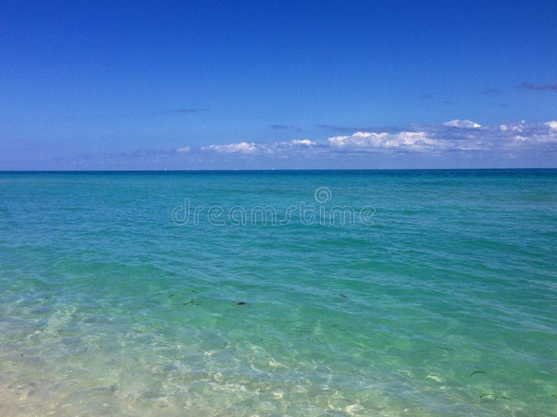 South Beach, Miami blue water and sky meet at horizont stock photo