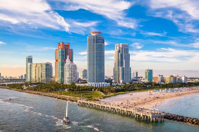 South Beach, Miami, Florida, USA. Over South Pointe Park royalty free stock image