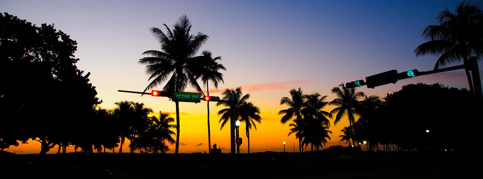 South beach sunset royalty free stock photography