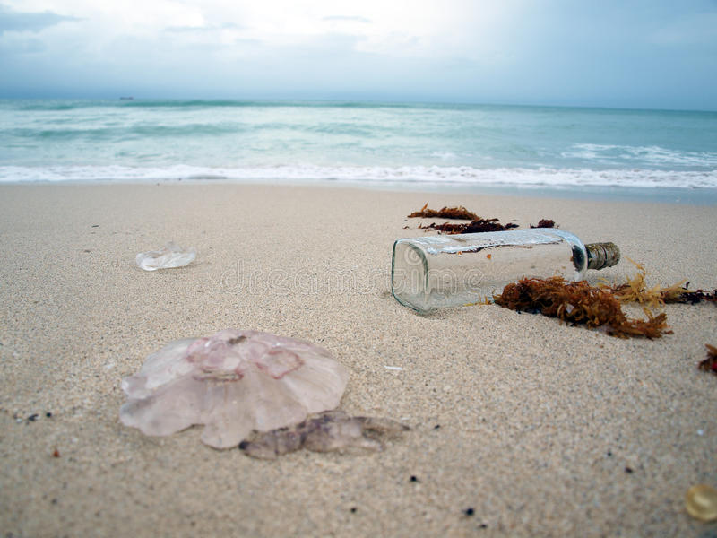 South beach surf with bottle stock images