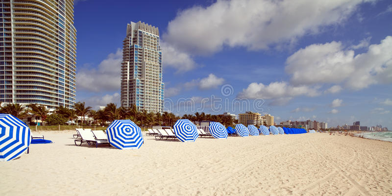 South Beach Umbrellas and Lounge Chairs stock image