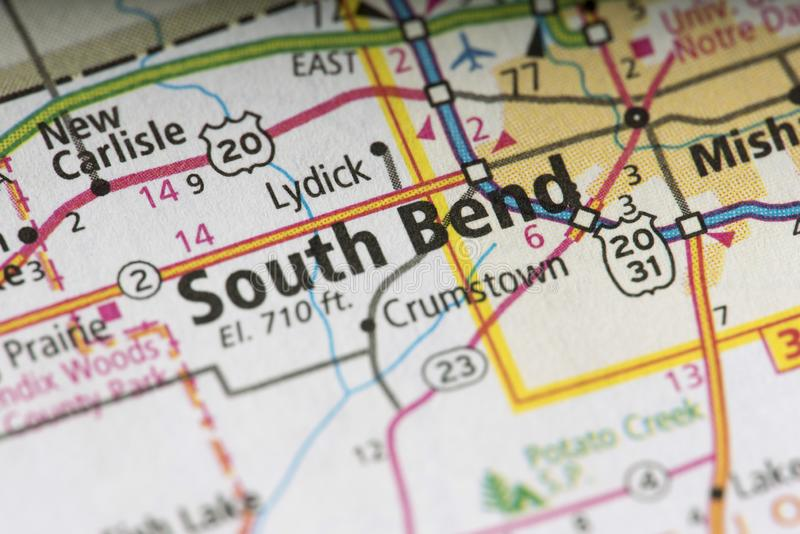 South Bend on map. Closeup of South Bend, Indiana on a map of the United States royalty free stock photo