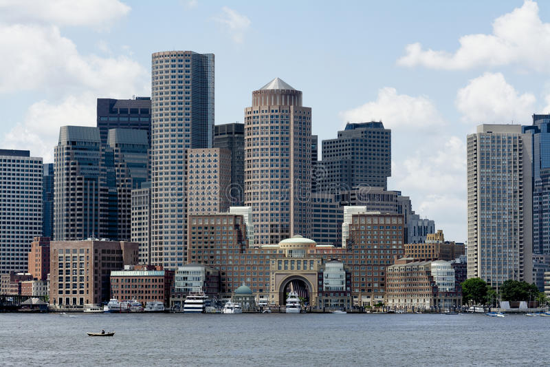 South Boston Seaport. Boston, Massachusetts - July 5 2013 - View of the South Boston Seaport district from the Boston harbor stock photo