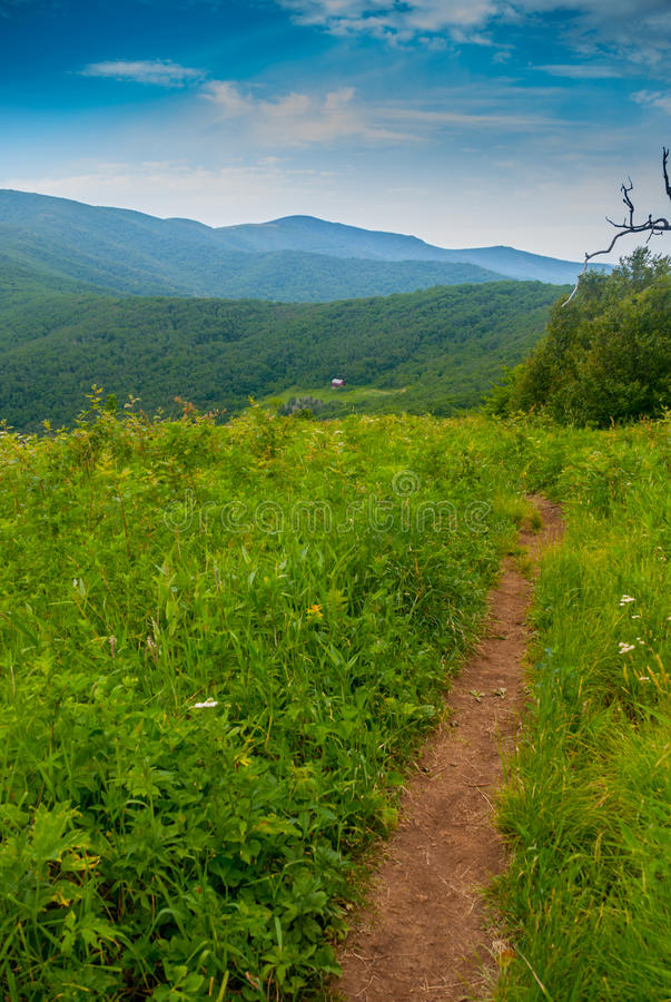 South Bound on the Appalachian Trail with the Over. Heading north on the famous Appalachian trail, hikers can see the Overmountain shelter, a large red barn with royalty free stock photos
