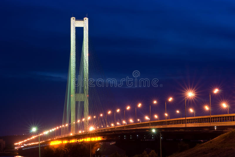 South bridge. Ukraine. Kiev. River Dnepr. South bridge. Ukraine. Kiev. Bridge through the river Dnepr stock photography