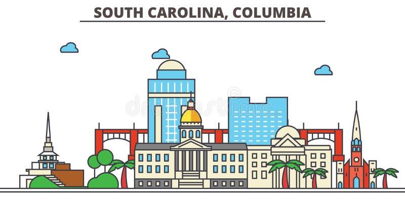 South Carolina Columbia din vektor för horisont för bakgrundsstadsdesign stock illustrationer