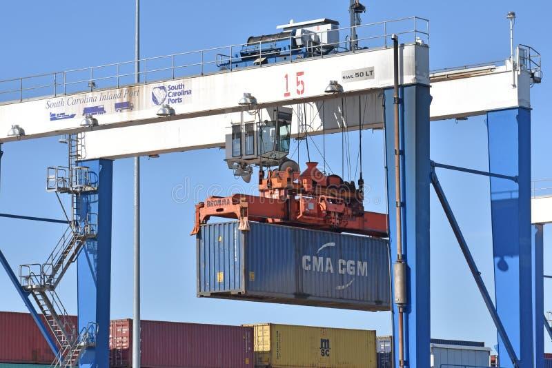 South Carolina Inland Port Spreader Crane with logo stock photography