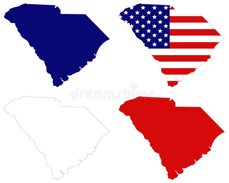 download south carolina map with usa flag state in the southeastern region of the united