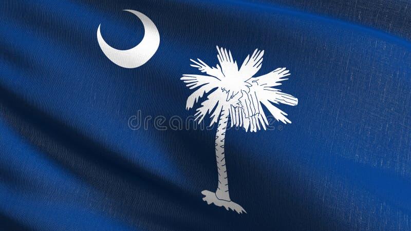 South Carolina påstår flaggan i Amerikas förenta stater, USA som blåser i den isolerade vinden Officiell patriotisk abstrakt desi vektor illustrationer