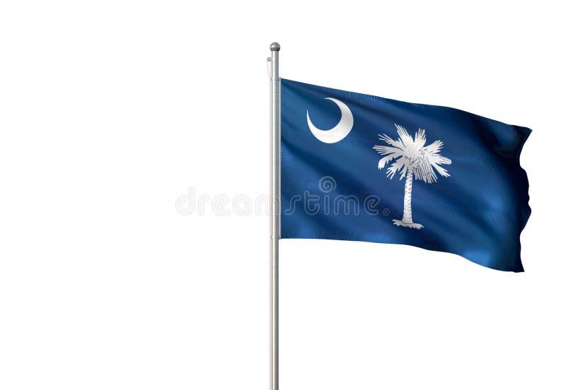 South Carolina stat av den Förenta staterna isolerade vita bakgrundsflaggan som vinkar den realistiska illustrationen 3d royaltyfri illustrationer