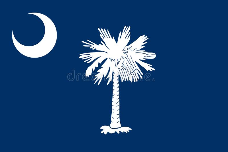 South- Carolinavektorflagge Auch im corel abgehobenen Betrag Vereinigte Staaten O vektor abbildung