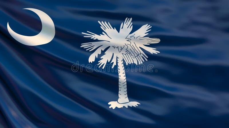 South- Carolinazustandmarkierungsfahne Wellenartig bewegende Flagge von South- Carolinastaat, die Vereinigten Staaten von Amerika lizenzfreie abbildung