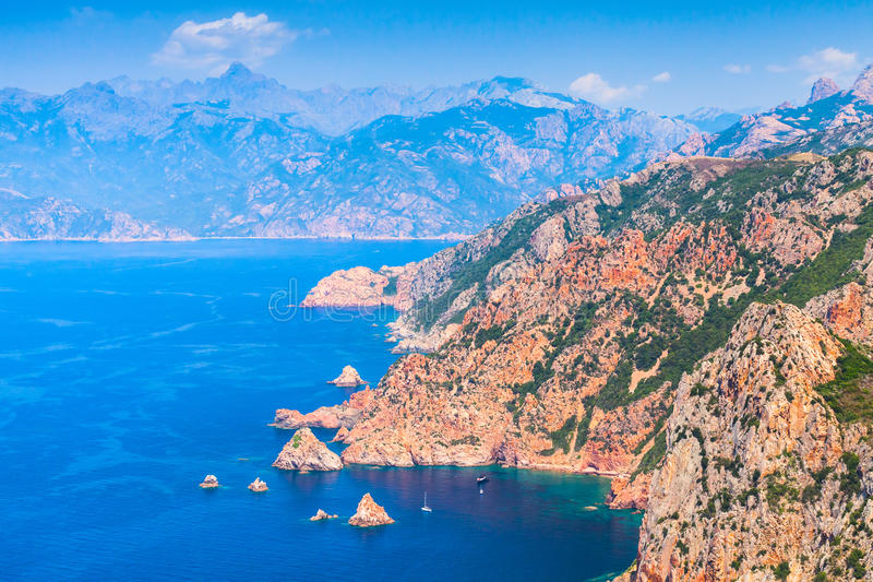South Corsica. Coastal summer landscape. South Corsica. Coastal landscape. Gulf of Porto, view from Capo Rosso royalty free stock photography