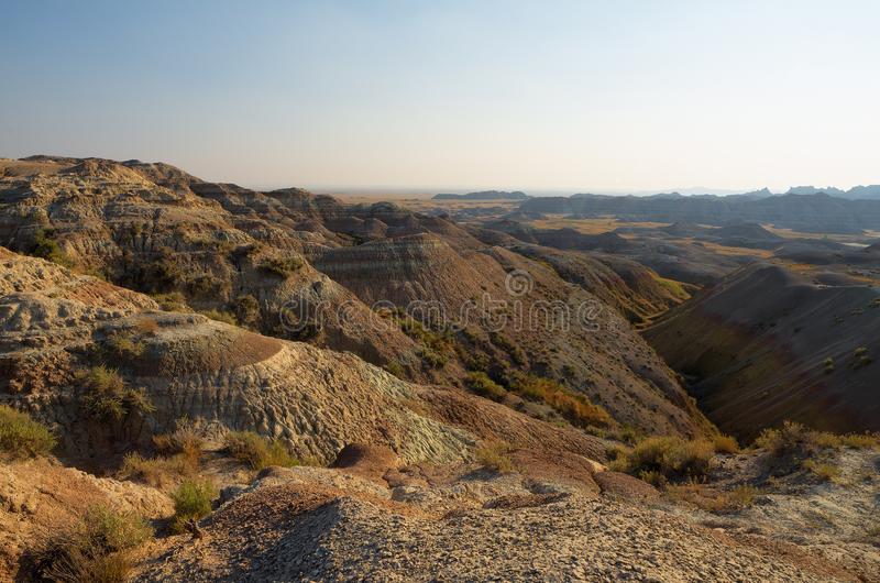 South Dakota Badlands nära sörjer Ridge indierreservation arkivbilder