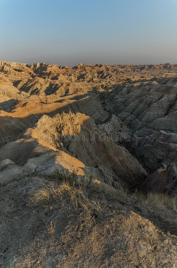 South Dakota Badlands nära sörjer Ridge indierreservation arkivfoto