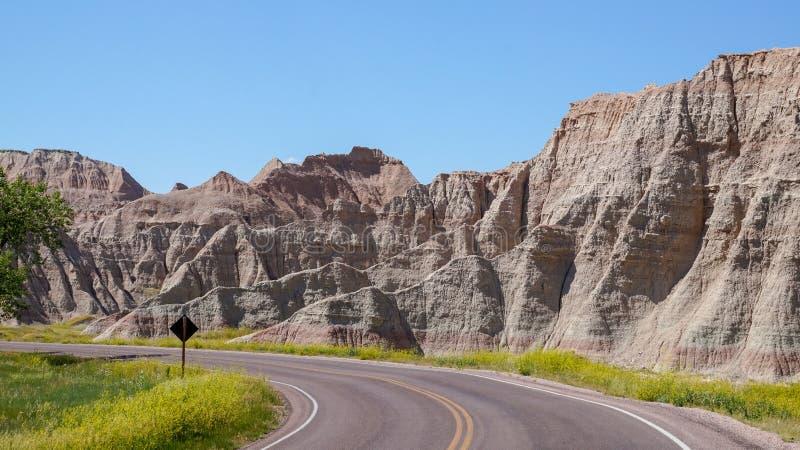 South Dakota Badlands nära sörjer Ridge indierreservation arkivfoto