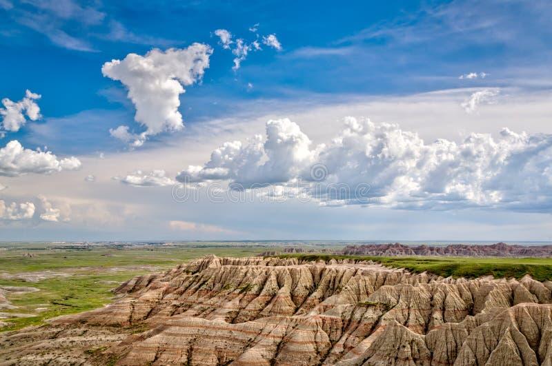 South Dakota Badlands nära sörjer Ridge indierreservation arkivbilder