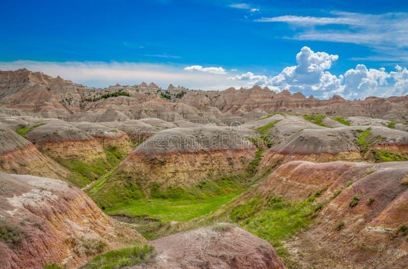 South Dakota Badlands nära sörjer Ridge indierreservation royaltyfria bilder