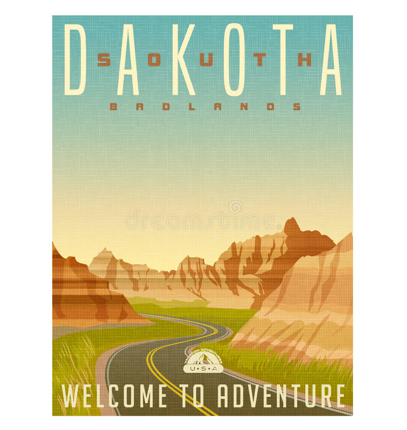 South Dakota badlands travel poster or sticker royalty free illustration