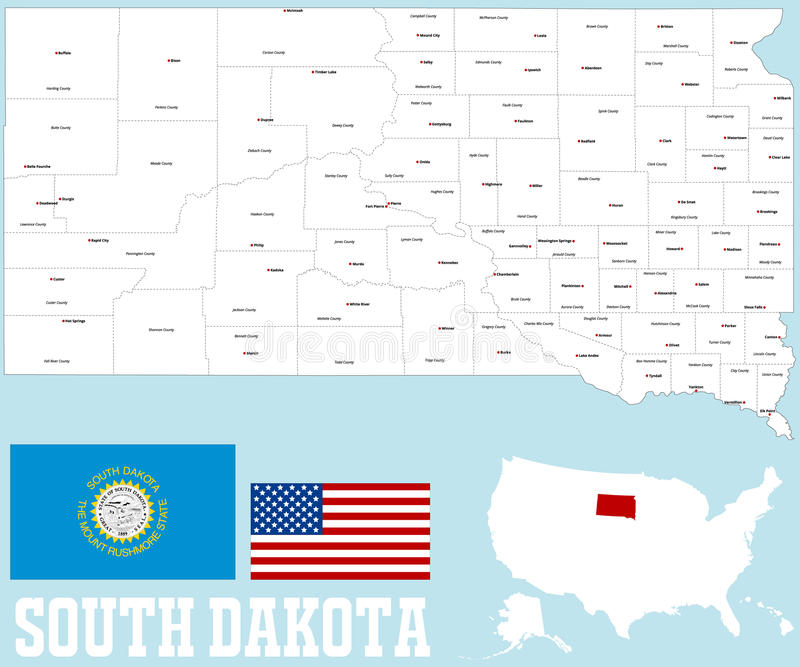 South Dakota county map. A large and detailed map of the State of South Dakota with all counties and county seats royalty free illustration