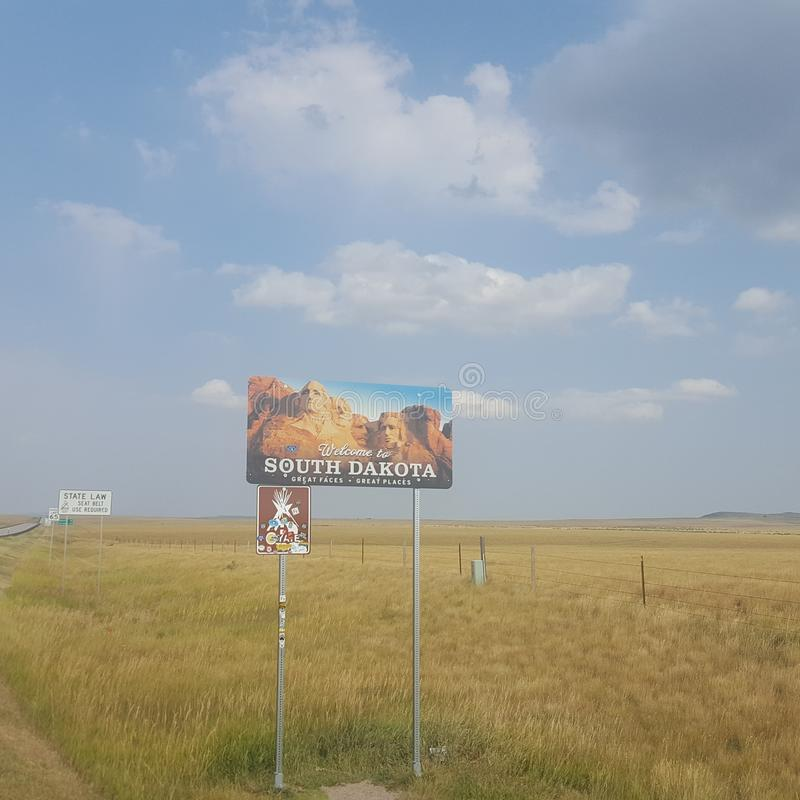 South Dakota State Line Sign royalty free stock images