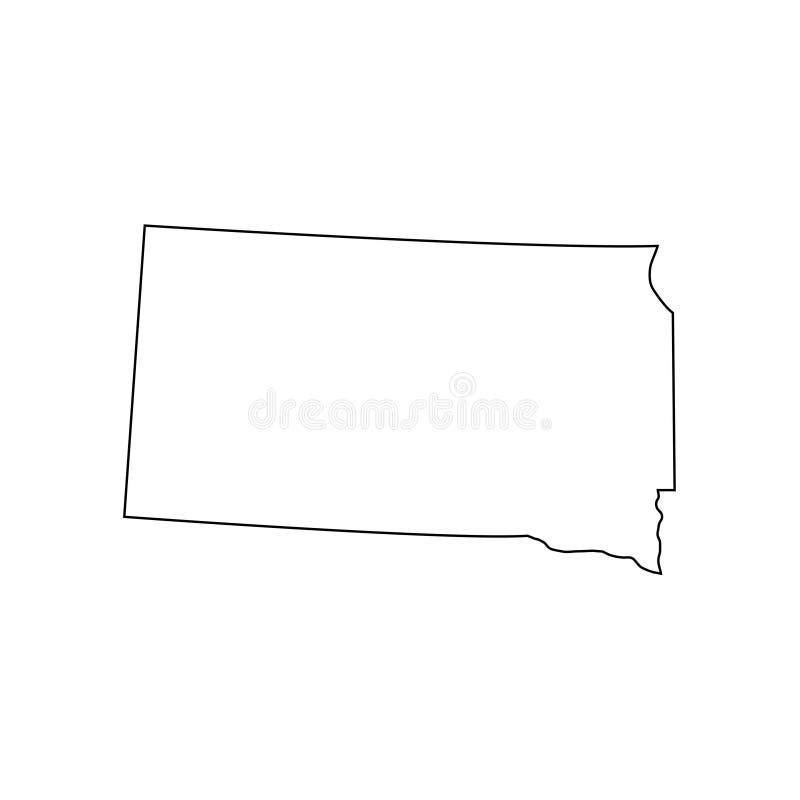 South Dakota - U S stato Linea di contorno a colori neri Illustrazione vettoriale EPS 10 royalty illustrazione gratis