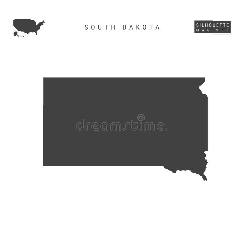 South Dakota USA påstår vektoröversikten som isoleras på vit bakgrund Hög-specificerad svart konturöversikt av South Dakota vektor illustrationer