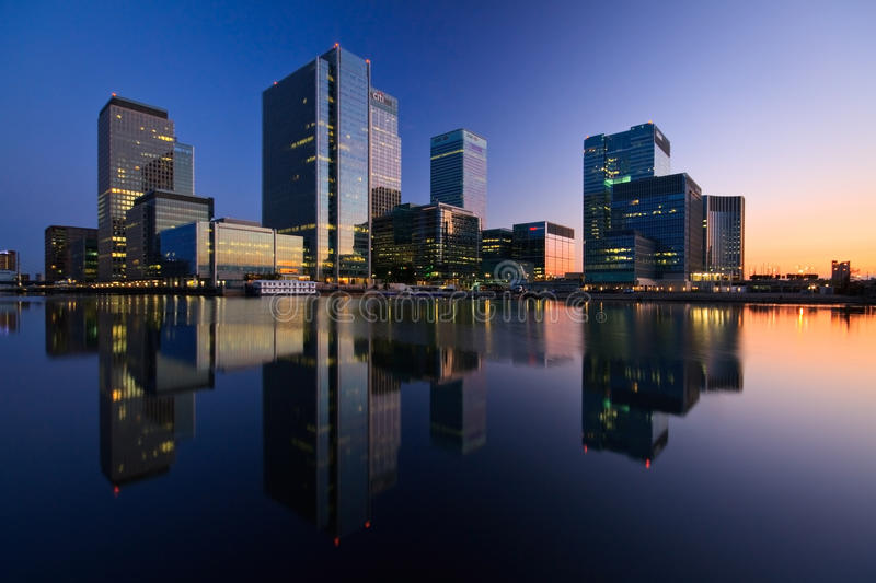South dock and Canary Wharf, London. stock image