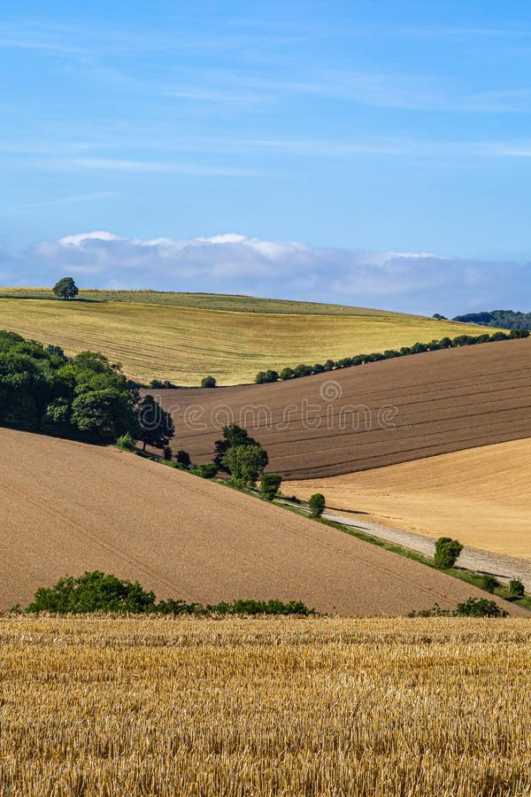 A South Downs Landscape. An idyllic Sussex patchwork landscape on a sunny summers day stock photo