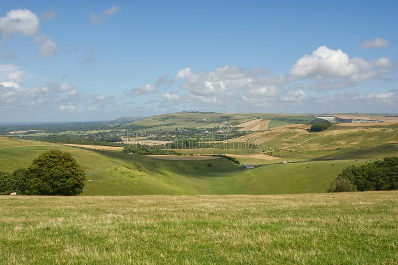 South Downs at Steyning, West Sussex, England. The South Downs between Shoreham and Steyning in West Sussex, England. View into Steyning Bowl stock image