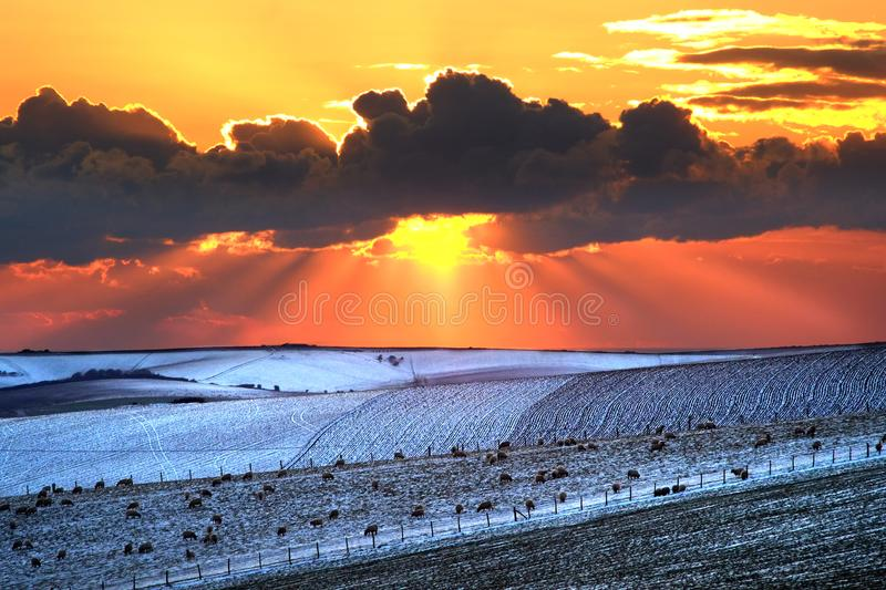 South downs winter sunset royalty free stock images