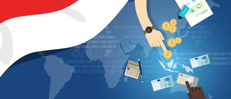 South East Asia för marknad för pengar för handel för begrepp för Indonesien ekonomiaffär finansiell översikt med flaggan vektor illustrationer