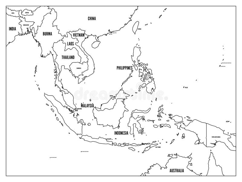download south east asia political map black outline on white background with black country name