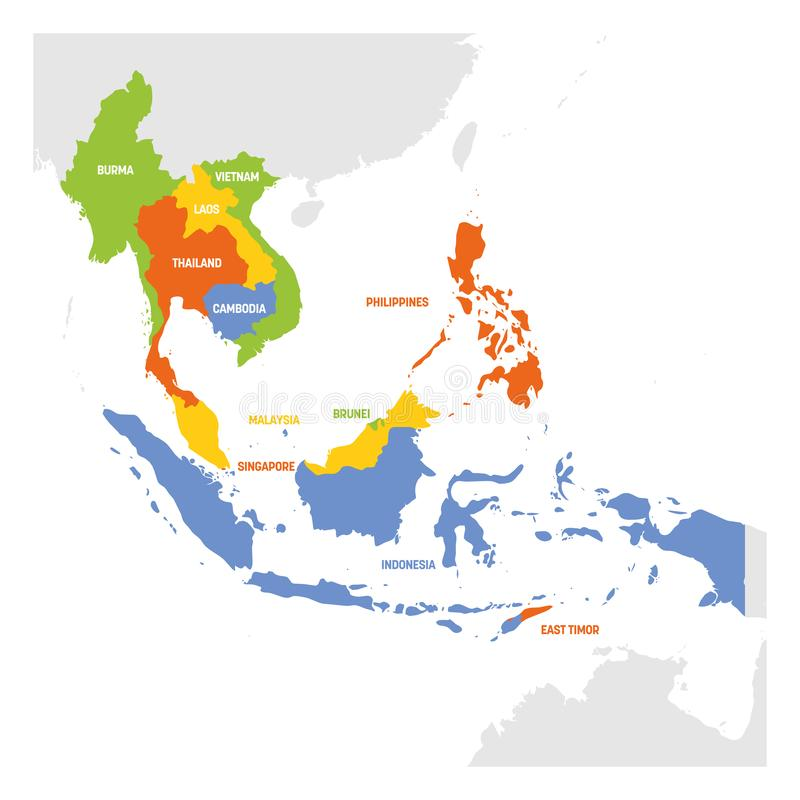 South East Asia region ?versikt av l?nder i syd?stliga Asien ocks? vektor f?r coreldrawillustration vektor illustrationer