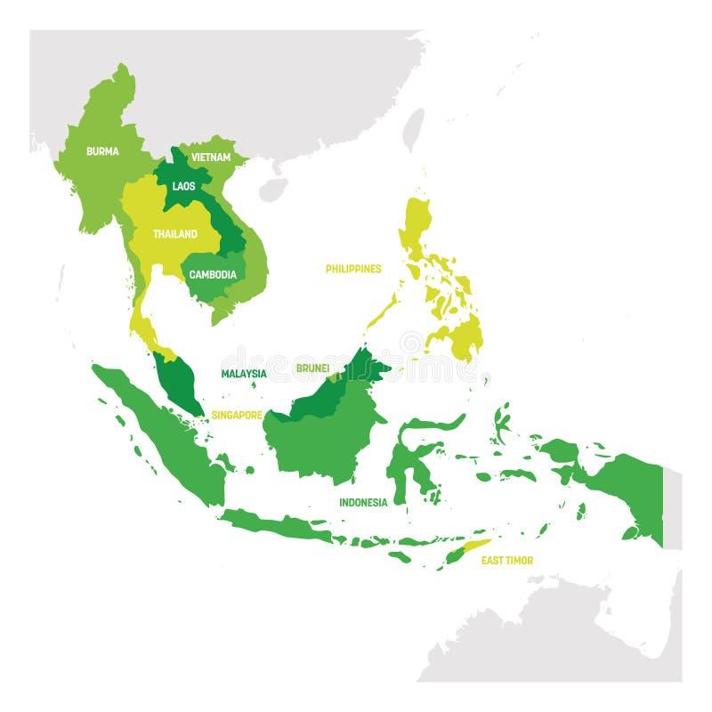 South East Asia region ?versikt av l?nder i syd?stliga Asien ocks? vektor f?r coreldrawillustration royaltyfri illustrationer