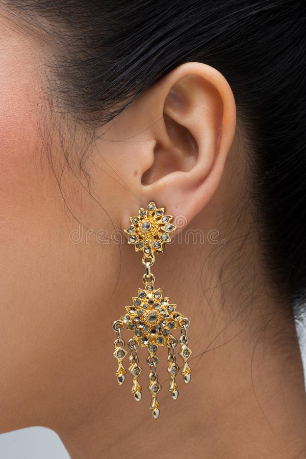 South East Asia Thai Traditional Costume earrings royalty free stock image