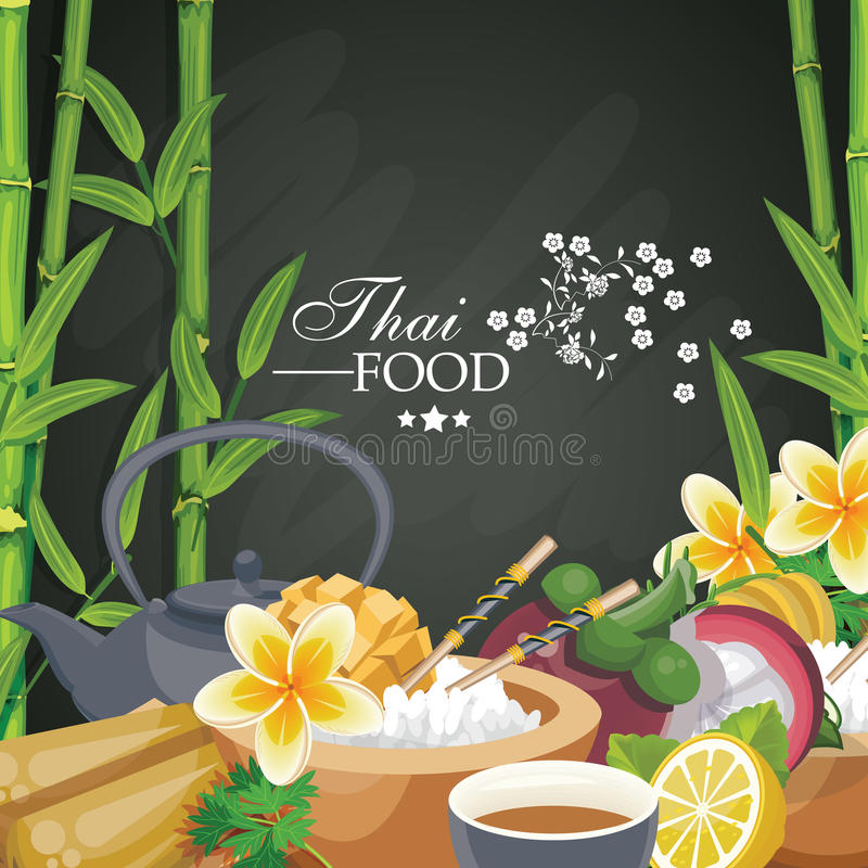 South East Asian prepared food. Thai cuisine. Ethnic meal of Thailand for menu. South East Asian prepared food. Thai cuisine vector illustration