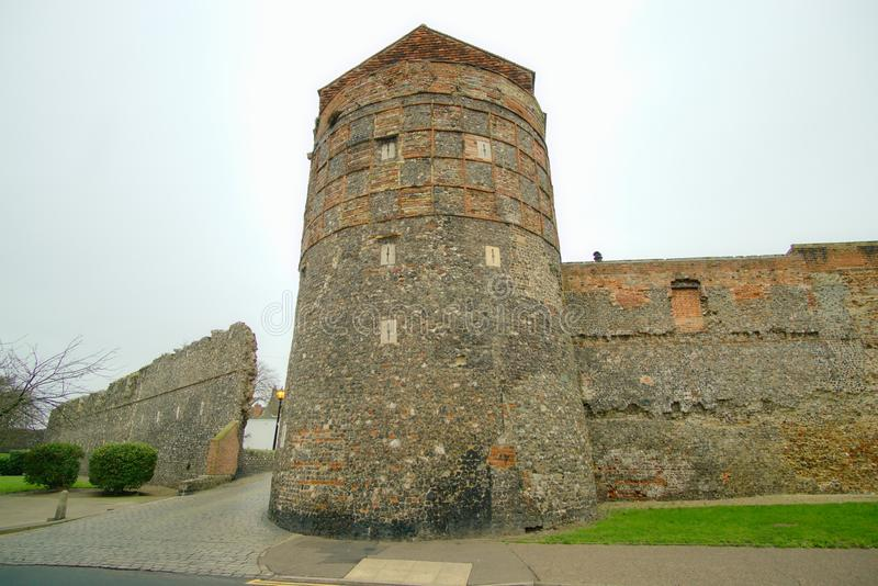 Medieval south east tower Great Yarmouth. The south east tower was part of the walled fortifications built around Yarmouth in Norfolk during the reign of Henry royalty free stock image