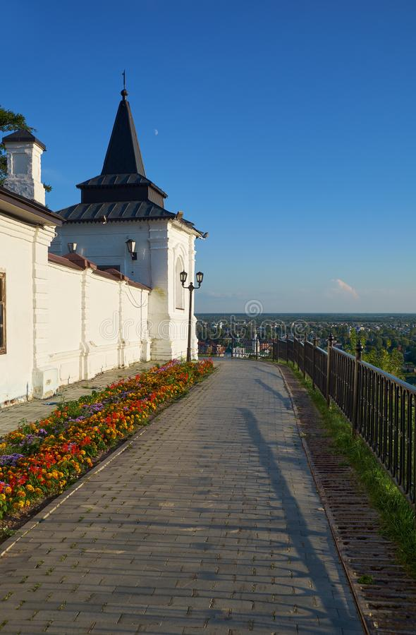 South-eastern square tower of Tobolsk kremlin. Tobolsk. Russia. The view of the pass along the stone defensive wall and South-eastern square tower of Tobolsk stock photos