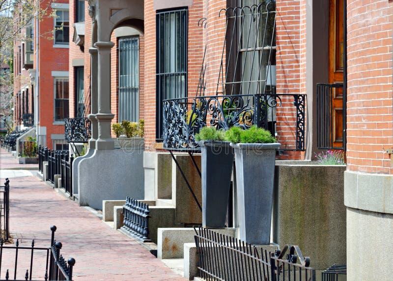 South End Boston. Architecture, brick and iron stock photo