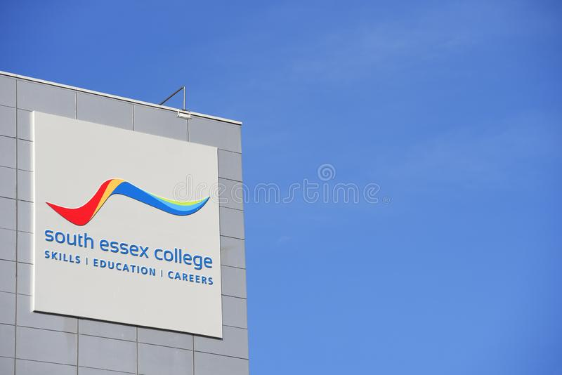 South Essex College, skills, education, careers sign. Southend on Sea, Essex. UK. Building. Education centre. Modern. Blue sky with space for copy stock photography
