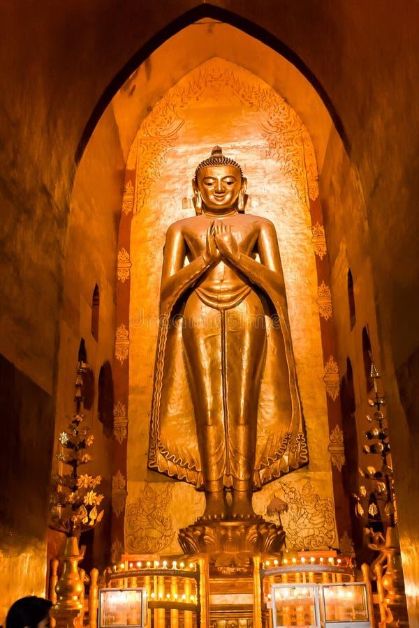 South facing standing Buddha - Kassapa,  the Ananda Temple, Old Bagan, Myanmar royalty free stock photos