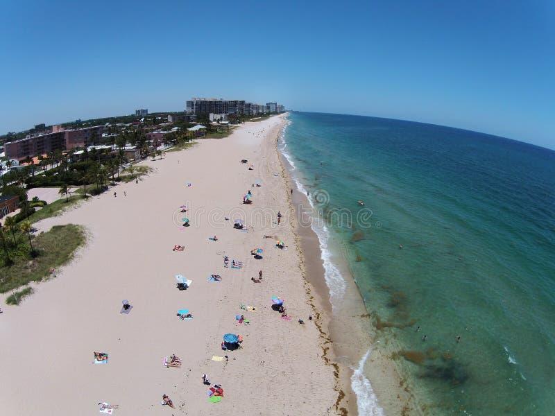 South Florida beach aerial view. SOuth Florida Atlantic coastline beach seen in aerial view stock photography