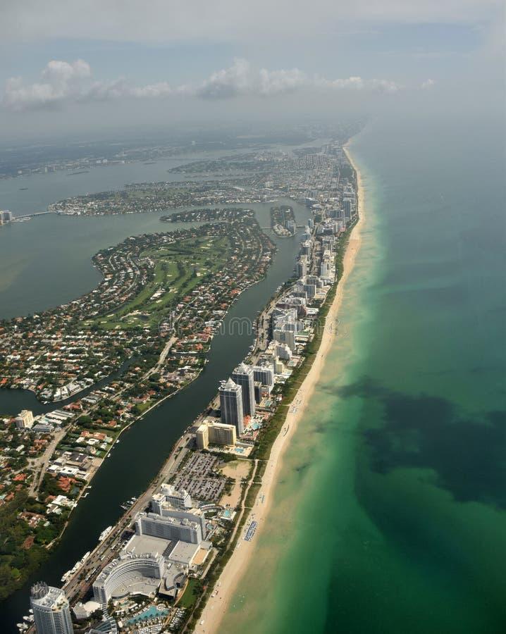 South Florida beaches aerial view. Aerial view of coastline beaches in South Florida near Miami royalty free stock photos